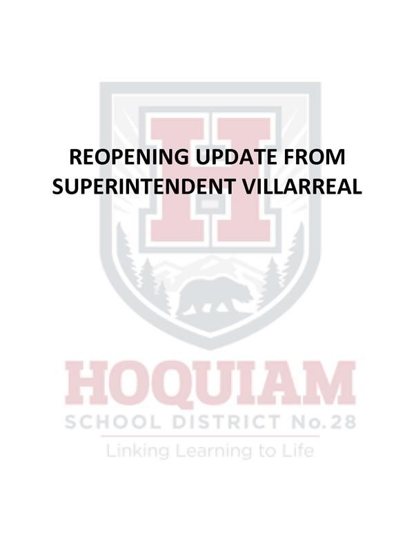 Reopening Update from Superintendent Villarreal